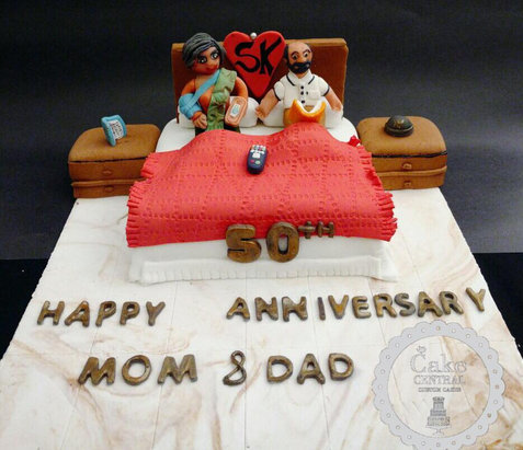 Cute Anniversary Themed Fondant Cake in Delhi NCR   Order Online   Home Delivered