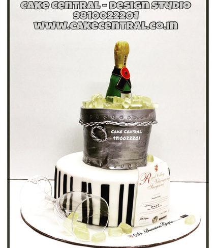 Champagne Bottle & Bucket Cake Delhi |