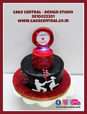 Open Ring Box Engagement Cake Delhi