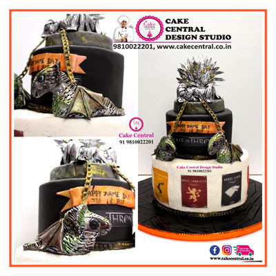Iron throne & Dragons Cake_ Game Of Throne theme_Delhi_Online