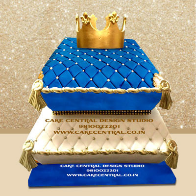 Royal Blue & Gold Cushion Cake Online with Delivery -Delhi ,Noida & Gurgaon