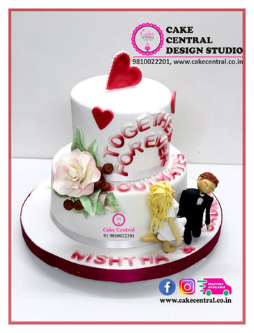 Love , Heart & Romantic Marriage  Anniversary Cakes Delhi .Order Online Designer Cakes with Delivery in South Delhi ,Noida ,Gurgaon