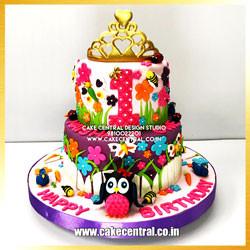 Princess Jungle Cake Baby Girl in Delhi Online - First Brithday Celebration Cake Design