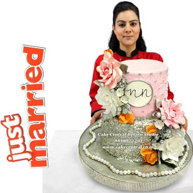 Pink & Silver Wedding Cake in Delhi NCR