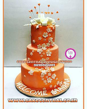 3 Tier Peach Wedding Cake in Delhi