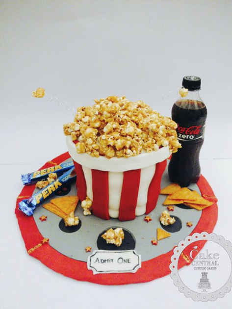 Pop Corn Box 4D themed Cake Delhi | Movie Lovers themed Cake Delhi | Order Online with Cake Delivery in Delhi , Gurgaon , Noida