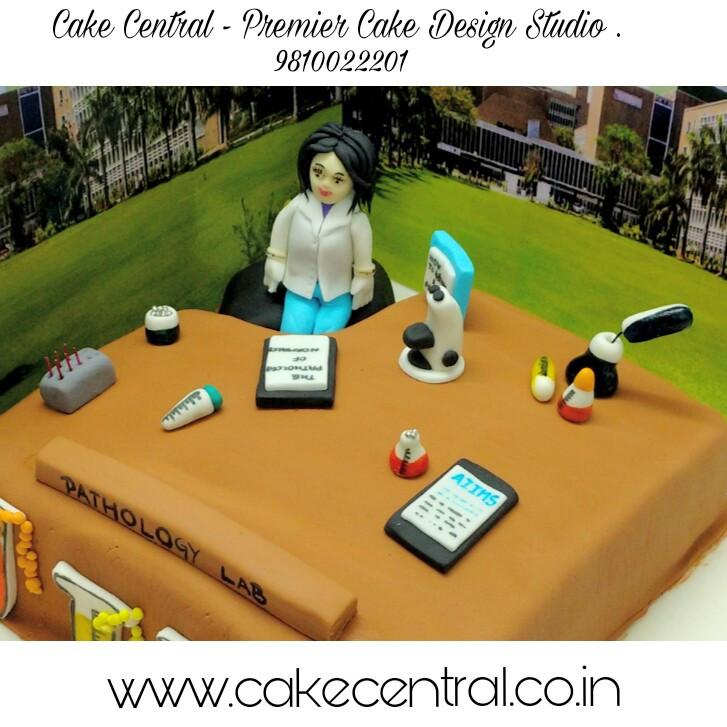 Cake for Doctor Delhi ,  Pathology Lab theme Cake , Cake for a Doctor ,  Designer Cake Delhi , Doctor Cake Delhi , 4D Cake in Delhi, Cake Central Delhi - Premier Cake Design Studio New Delhi . Customized Theme Cakes in South Delhi