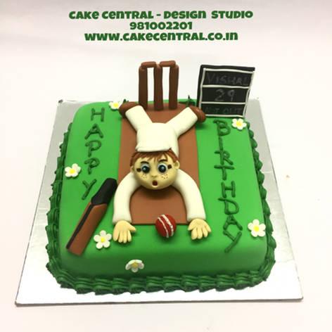 Cricket Pitch Birthday Cake Delhi | Cricket Birthday Cake with Name | Online Cake Deliervy Delhi , Gurgaon, Noida