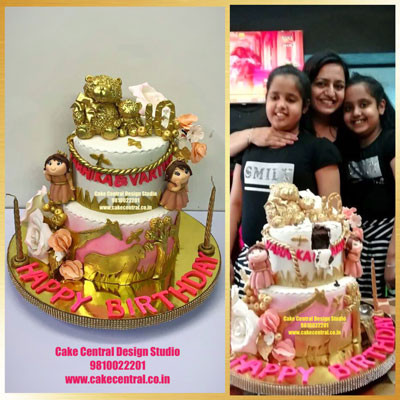 Golden Jungle Cake for Girls Design Online in Delhi