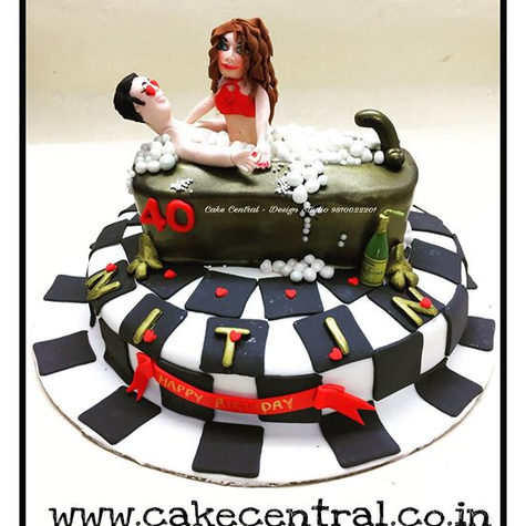 40th Birthday Bath Tub Naughty Cakes Delhi