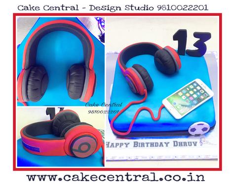 Beats Headphone Iphone Ipod Birthday Cake Delhi | Order  Online Cake Delivery