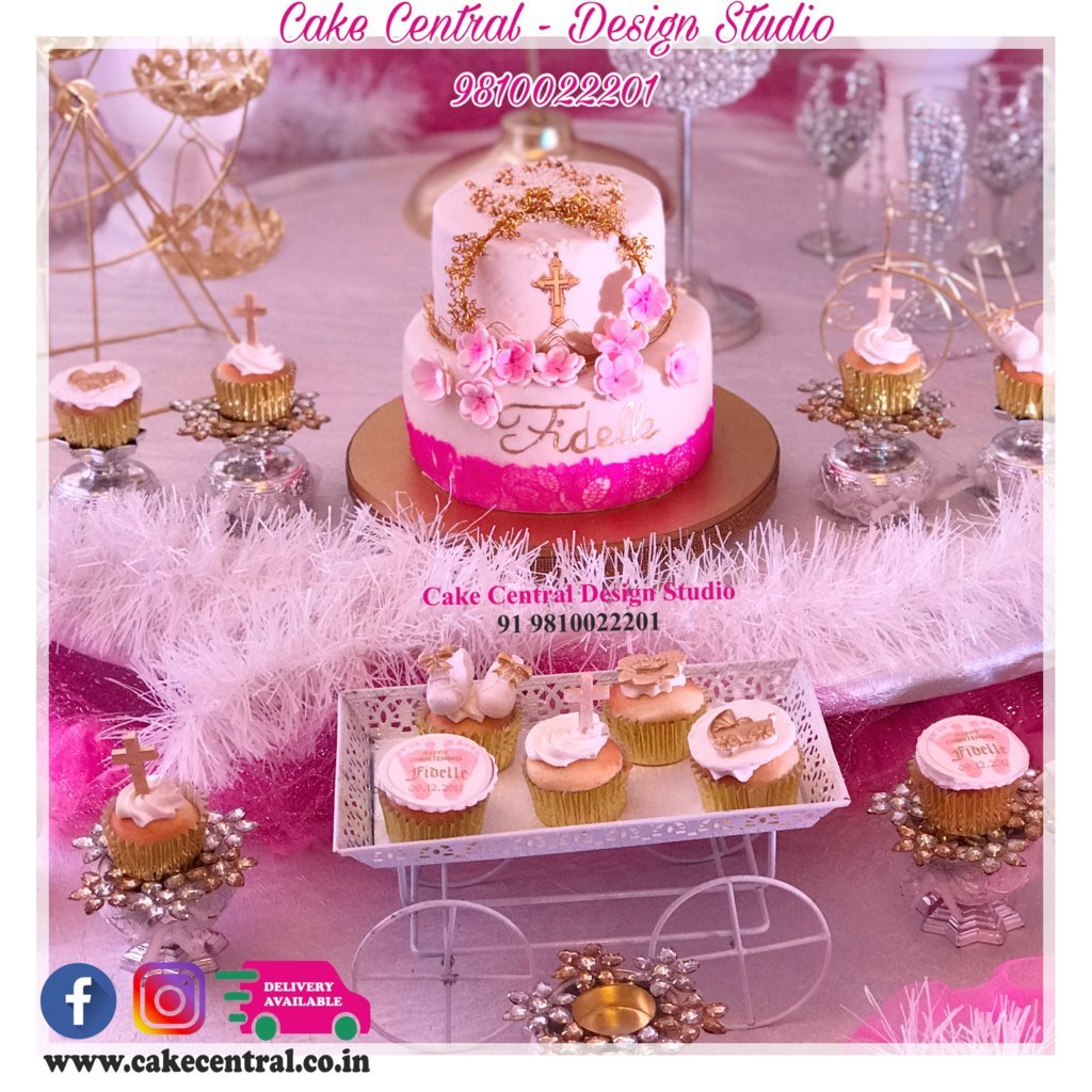 Golden Christening Cakes Delhi