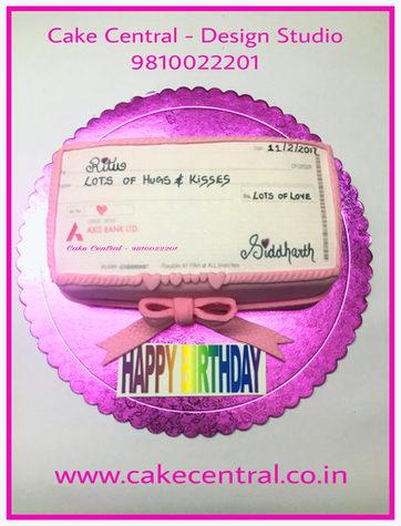 Cheque-book -Money Cake in Delhi NCR