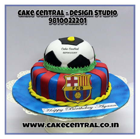 FC Barcelona football shaped Cakes in Delhi Online