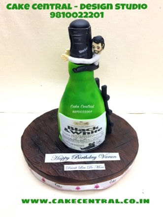 Funny Scotch Whisky Bottle Cake in Delhi Online