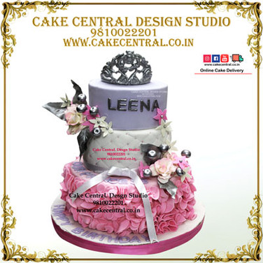 Silver Princess Crown Cake in Delhi Online