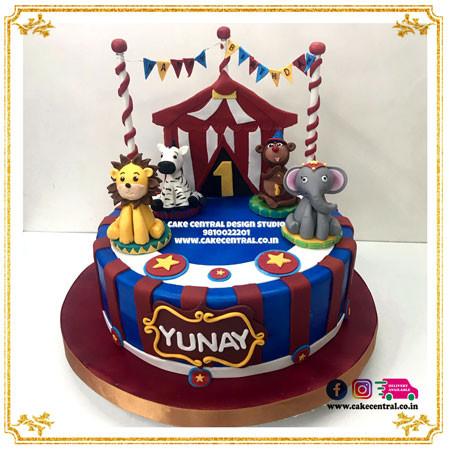 Jungle Circus theme Cake in Delhi Online