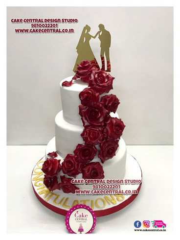 White with Red Roses Christian Wedding Cake Design in Delhi - Traditonal White Wedding Cakes Designs  Delhi Online