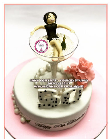 Pink & White Champagne Glass Birthday Cake |