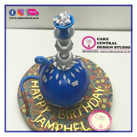 Online Cake Delivery of a Blue Hookha Cake in Delhi
