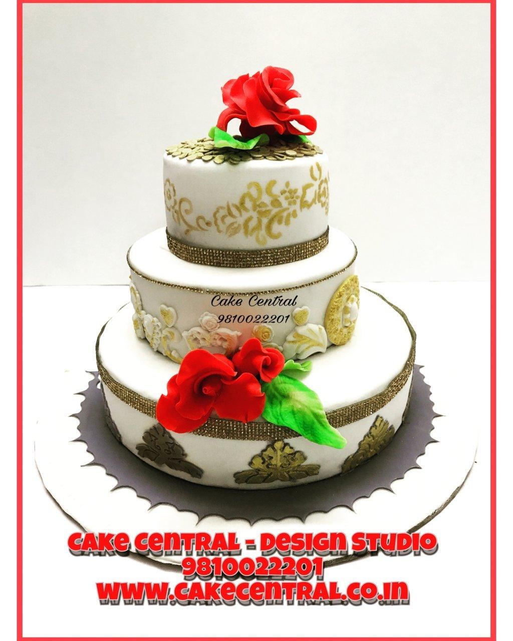 3 Tier Golden Wedding Cakes Delhi