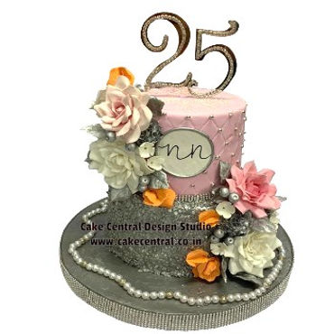 25th_Wedding_ Anniversary_Cake_Design