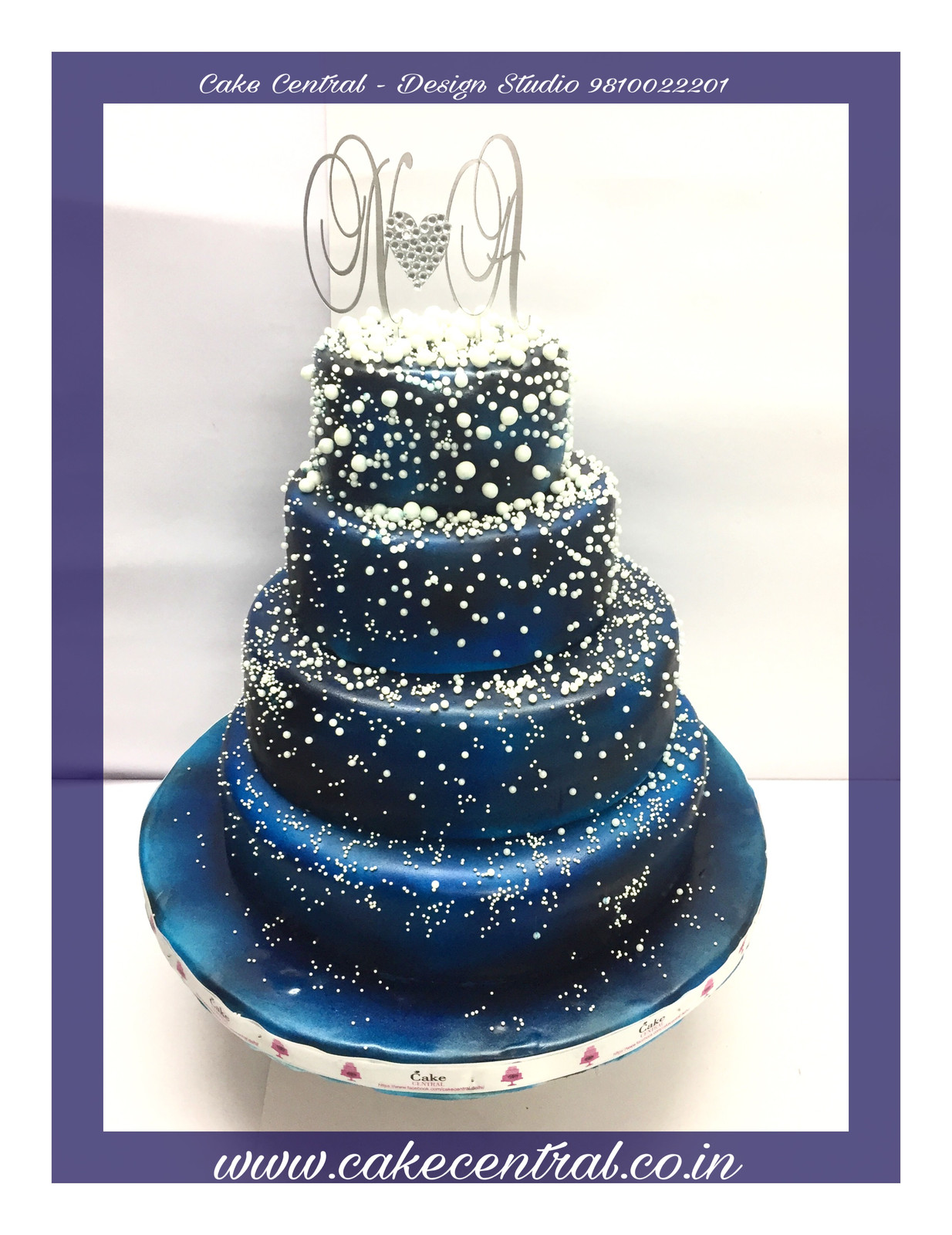 Beautiful 4 Tiered Galaxy Themed Blue Anniversary Cake In Delhi Ncr Designer Cakes In Delhi