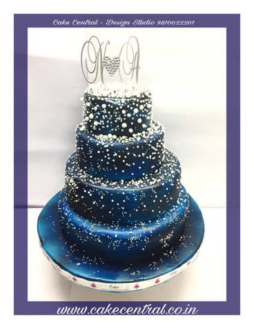 Beautiful 4 Tiered Galaxy Themed Blue Anniversary Cake in Delhi NCR