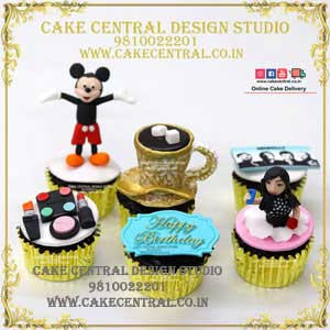 Cartoon/Coffee / Makeup Theme Cupcakes for Girls in Delhi