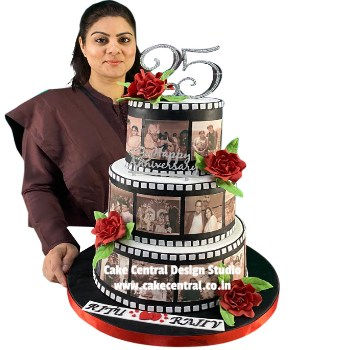 25th_ Wedding_ Anniversay_Cake_ Design_Delhi_Online