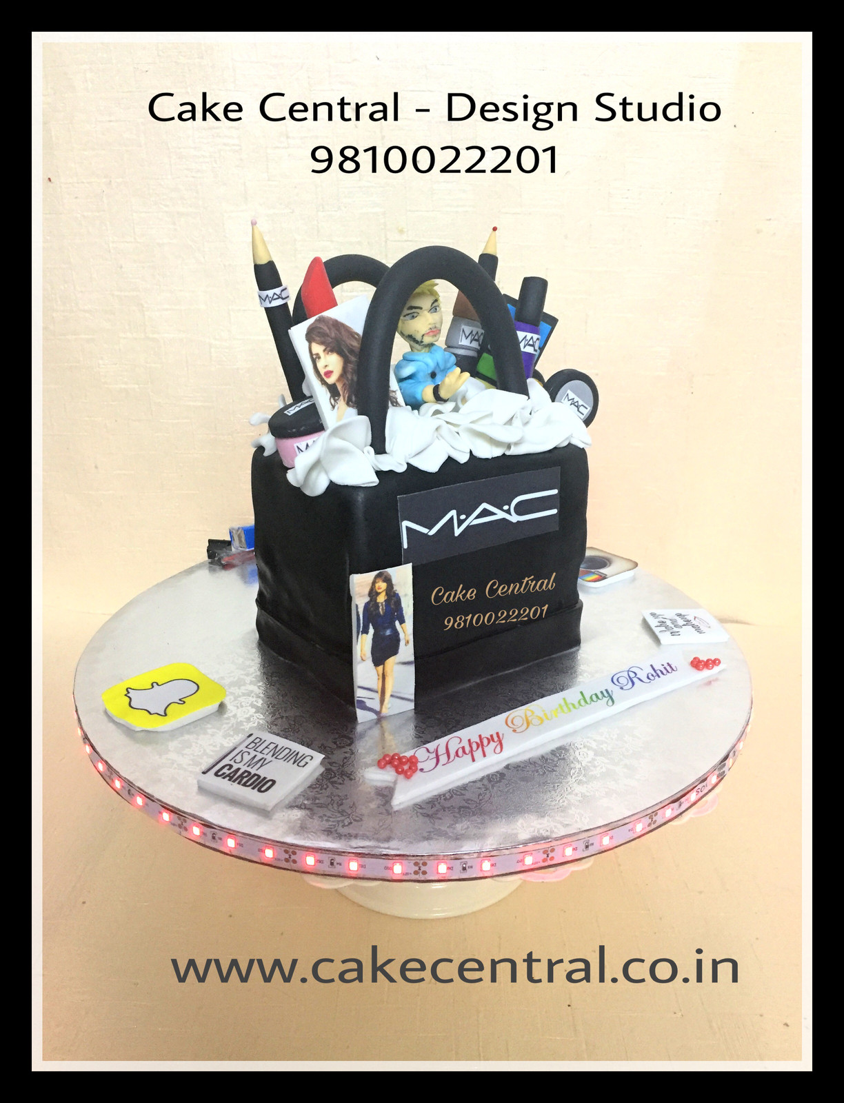Order Mac Makeup Kit Cake In Delhi With Edibe Figureine