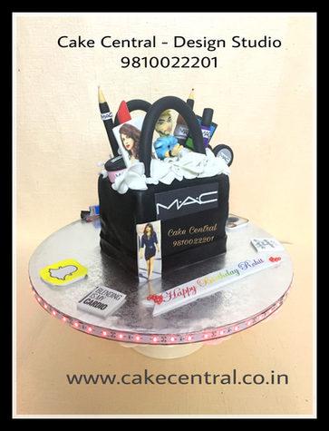Order Mac Makeup Kit Cake in Delhi with Edibe Figureine