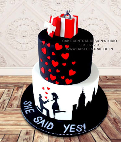 Heart with Ring Box Engagement Cakes Onlline in Delhi