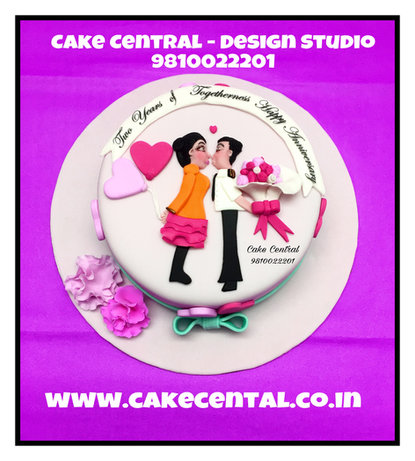 Hugs & Kisses Romantic Anniversary Cakes Delhi .Order Online Designer Cakes with Delivery in South Delhi ,Noida ,Gurgaon