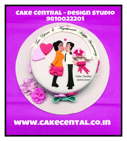 Hugs & Kisses Romantic Anniversary Cakes Delhi .Order Online Designer Cakes with Delivery in South Delhi ,Noida ,Gurgaon