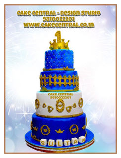 Gold & Blue Prince Cake for Baby Boys