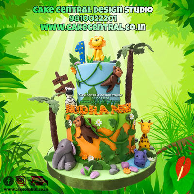 Jungle Cake for First Birthday In Delhi Online