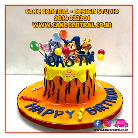 Jungle Theme tiger Cake in Delhi Online