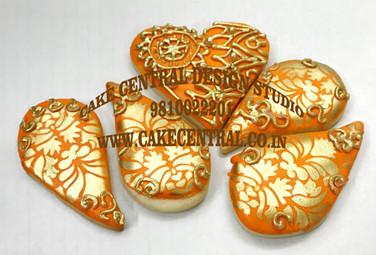 Orange & Golden Wedding Cookies in Delhi