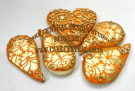 Orange & Golden Wedding Cookies in Delhi