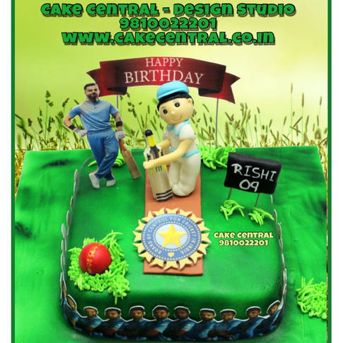 Cricket Birthday Cake in Delhi Online with Delivery | Cricket Bat , Ball Pitch Cake Delhi