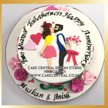 Romantic Wedding Anniversary Cake Delhi Online