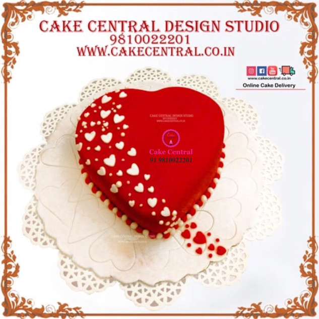 Red Heart Shaped Cake in Delhi Online with Delivery