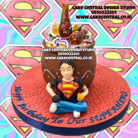 Superman_Foodie_Biryani_theme_Cake_for_Boyfriend_Delhi_Online