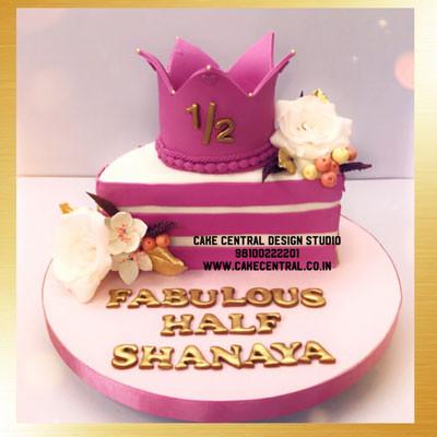 Half Princess Crown Cake Designs in Delhi Online