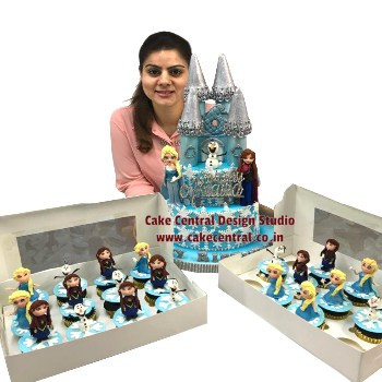 frozen elsa and anna castle cake & cupcakes in delhi online