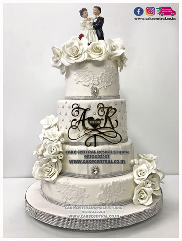 Christian Wedding Cake Design in Delhi - White Wedding Cakes Delhi Online