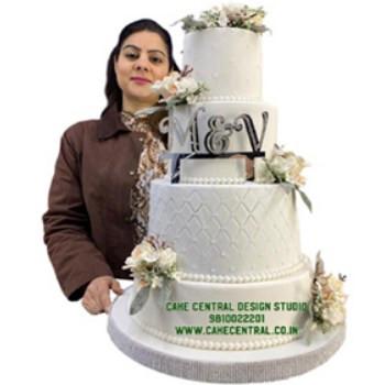 Floral White Wedding Cake Design in Delhi