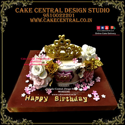 Floral Princess Crown Cake for Wife in Delhi Online