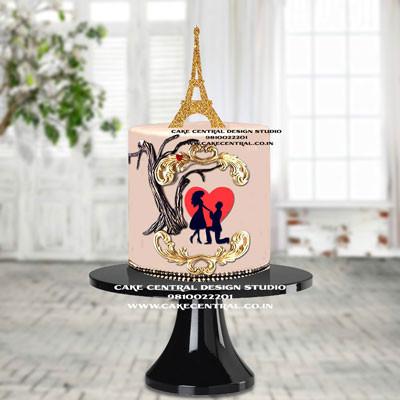 Romantic Eiffel Tower Cake Onlone in Delhi